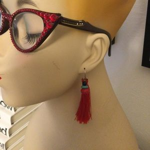 Barse tassels earrings with turquoise & coral